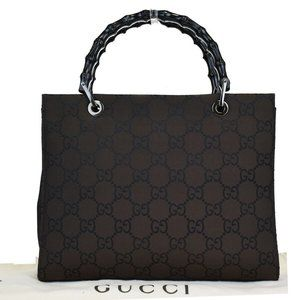 GUCCI GG Pattern Bamboo Hand Bag Nylon Leather Bro